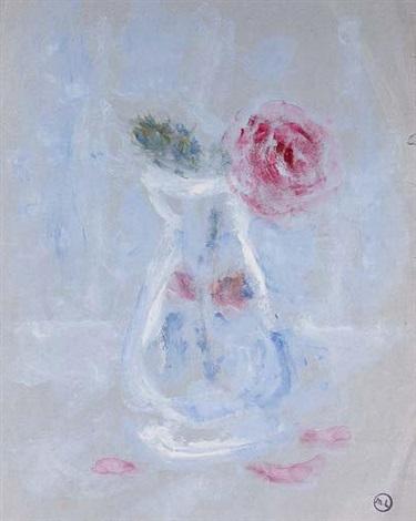 rose dans un vase by mikhail larionov
