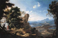 an extensive italiante landscape with juno and ixion by pierre patel