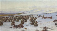 the russian army on the attack in the snow by richard karlovich zommer