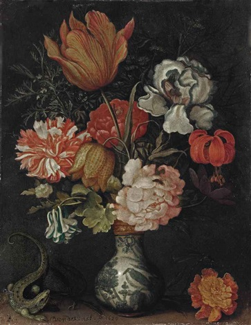 a tulip iris rose fritillary martagon and carnation in a wan li vase on a ledge with a lizard and a dragonfly by balthasar van der ast