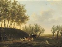 cattle in a sunlit meadow by leendert de koningh