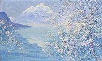 paysage japonais aux cerisiers en fleurs by georges victor laurent dantu