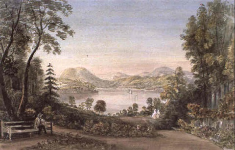 view of the derwent from the botanical gardens hobarton by emily harrison miller