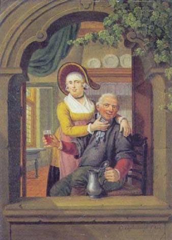 en vinduesniche med vindrikkende mand og dame der kilder ham på hagen by cornelis van cuylenburg