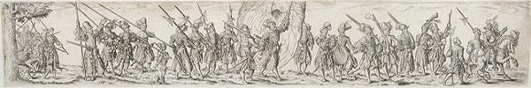 marschierende soldaten in der mitte ein fahnenträger after j amann by johann theodor de bry