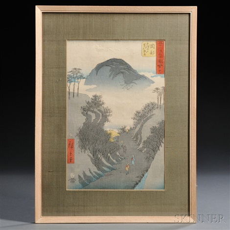 upright tokaido from fifty three stations of the tokaido tate e diptychs by ando hiroshige