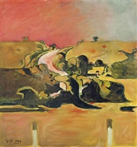 study: welsh landscape with road by graham sutherland