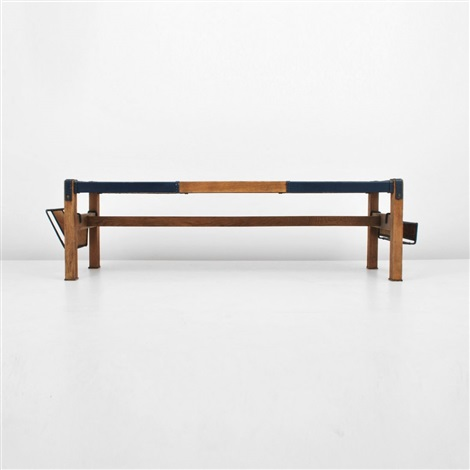 cocktail tablebench with magazine holders by jacques adnet