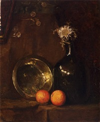 still life with dried sunflower in a glass bottle, brass dish and two oranges by piet mondrian