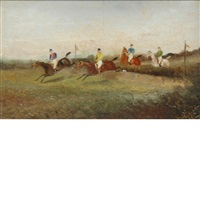 a lady and gentleman driving a dogcart and horsemen taking a jump (2 works) by philip h. rideout