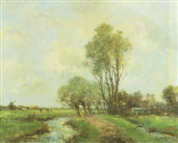 dutch landscape with cows and windmill by w. zadick