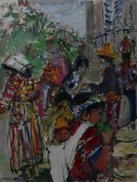 scène de marché en amérique du sud by yolande ardissone