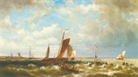 shipping in an estuary, with windmills in the background by hermanus koekkoek the younger