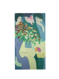 untitled (three women with flowers) by walasse ting