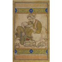 a learned man (+ calligraphy in the hand of prince khurraam, verso) by basawan