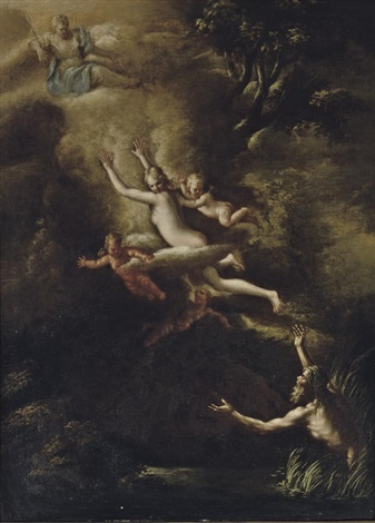 glaucus fleeing from skylla the goddess diana looking down from above by nicola vaccaro