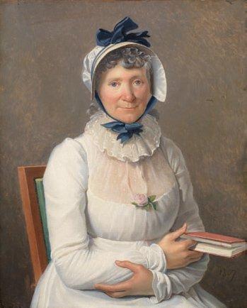 portrait de femme en robe blanche et coiffe bleue à double noeuds une rose à son corsage tenant un livre dans sa main gauche by henri françois riesener