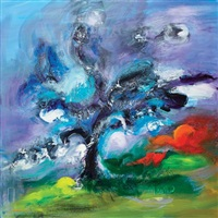 composition en bleu et rouge by vanecha roudbaraki