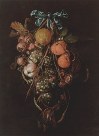 a swag of medlars, peaches, grapes, oranges, a lemon, horse chestnuts, snails and ears of wheat suspended from a bow by david davidsz de heem the younger