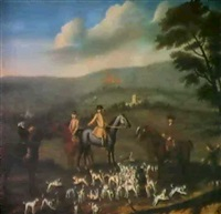 gentlemen out hunting with their harriers in a       hilly landscape by nathan drake