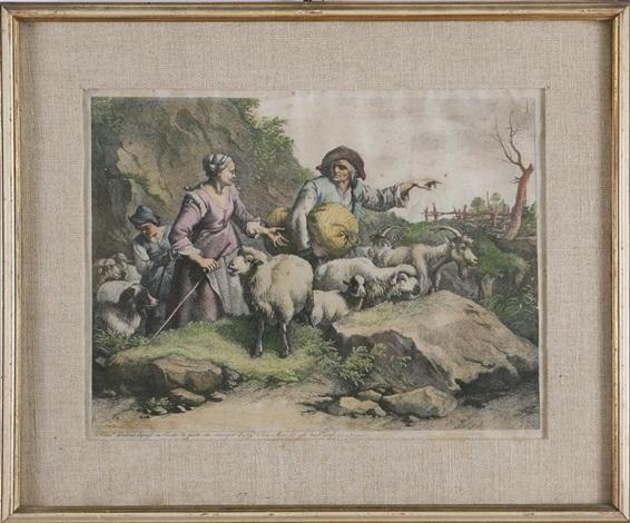 contadino con sacco che conduce il gregge e due pastorelle by francesco londonio
