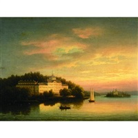 a lake scene at sunset with a summer palace on the shore and figures in a dinghy in the foreground by aleksandr vasil'evich gine