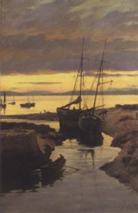 the harbour at sunset by william m. pratt