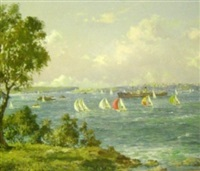 boats on sydney harbour by john allcott