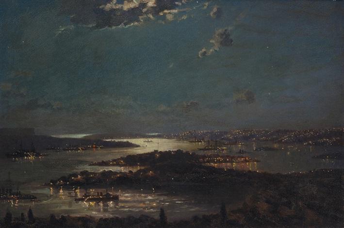naval fleet in sydney harbour at night by john allcott