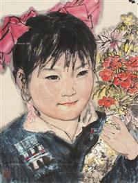 少女图 立轴 设色纸本 by lin yong