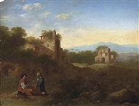 an italianate wooded river landscape with a shepherd and shepherdess at rest, classical ruins beyond by johan van haensbergen