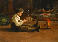 child playing with toy windmill by carl haag