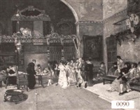 a spanish interior scene of a wedding party signing the   registry by j. bandez