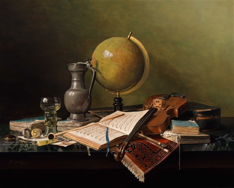 still life with globe and violin vanitas by jos aanraad