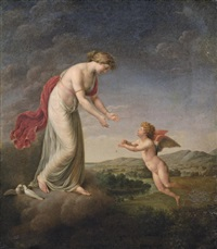 venus consoling cupid stung by a bee by friedrich rehberg