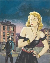 policeman eyeing woman in rundown neighborhood (illus. for best true fact magazine) by howell dodd