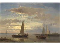 sunset on the estuary by abraham hulk the younger