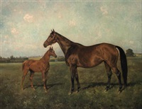 a mare and foal in a landscape by franz reichmann