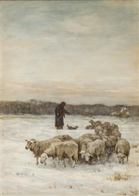 shepherd and sheep by horatio walker