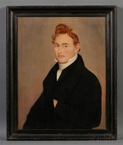portrait of a ginger haired young man by ammi phillips