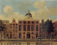 amsterdam: a view of the de duif church on the prinsengracht by fredericus theodorus renard