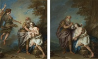 abraham preparing to sacrifice isaac; abraham and the angel (pair) by charles-antoine coypel