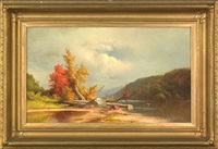 autumnal landscape by george frederick bensell