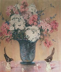 magpies and phlox by frederick almond zimmerman