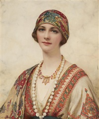 a portrait of a young woman in eastern costume by william clarke wontner