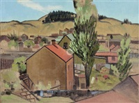 farm buildings in a landscape and landscape (double-sided) by rita angus