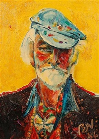 self portrait in my painting hat by sven berlin