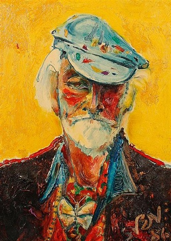 self portrait in my painting hat by sven berlin