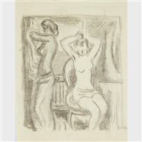 a group of 5 drawings depicting women (5 works) by eric e. goldberg