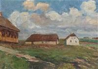 landskab med huse. vestjylland by albert gottschalk